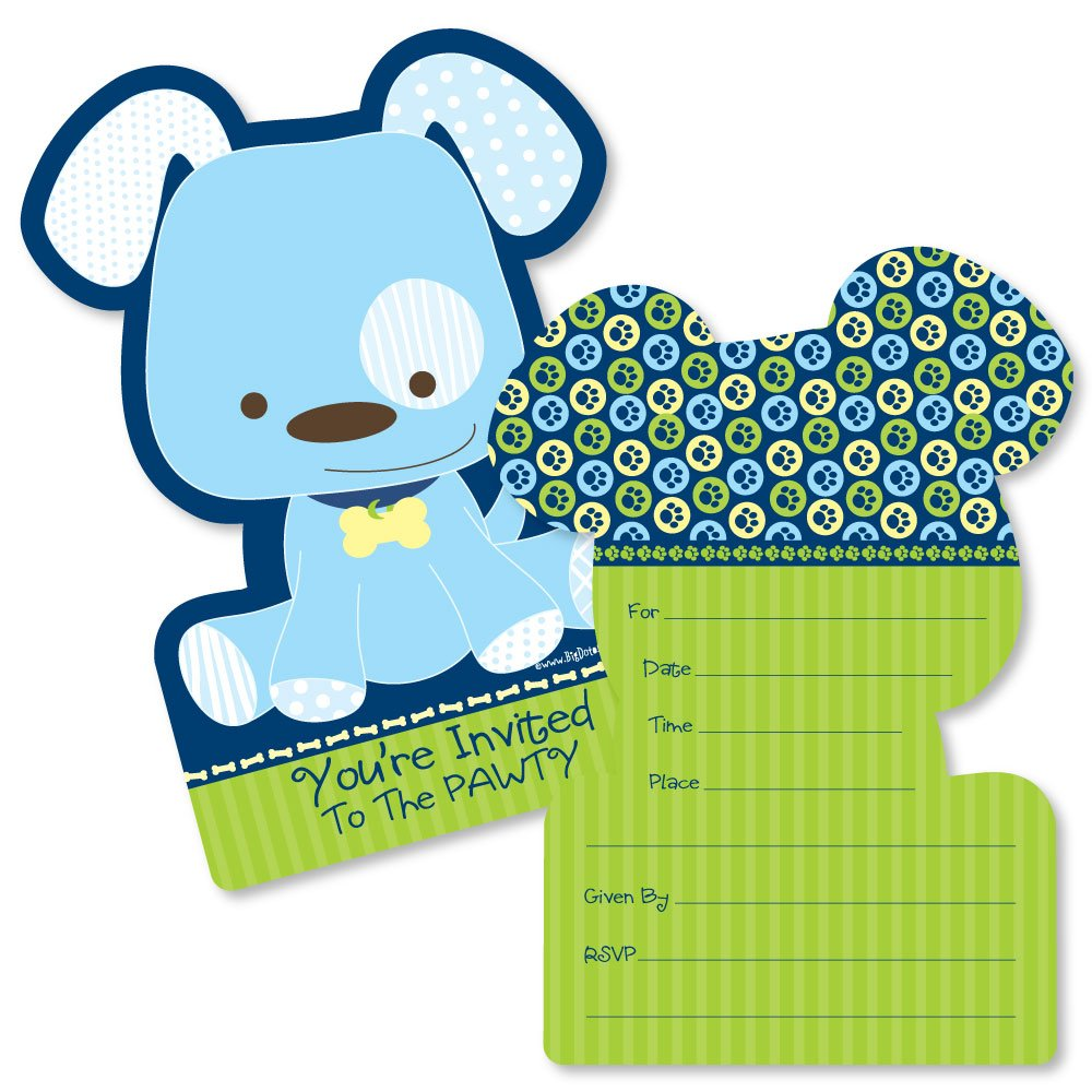 Boy Puppy Dog - Shaped Fill-In Invitations - Baby Shower or Birthday Party Invitation Cards with Envelopes - Set of 12