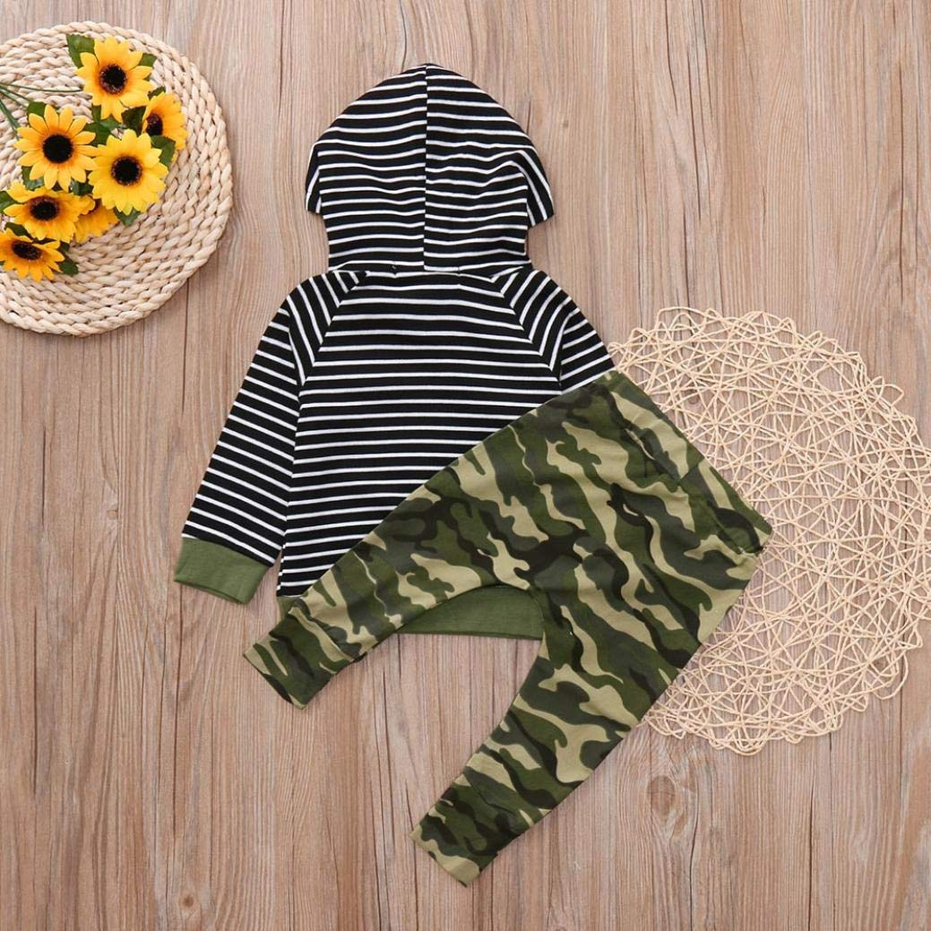 2pcs Clothes Set Toddler Infant Baby Boys Girls Hooded Sweatshirt Striped Tops Pockets Camouflage Pants 0-3T (Camouflage, 3T(2-3 Years)) by Aritone - Baby Clothes (Image #3)