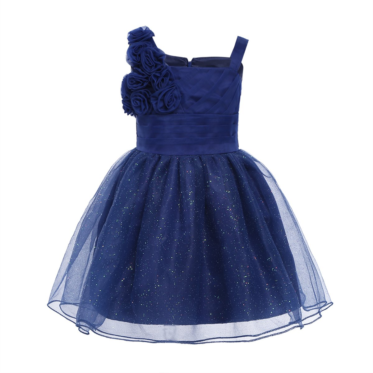 CHICTRY Baby Toddler Girls Glitter Tulle 3D Rose Princess Wedding Pageant Party Flower Dresses Navy Blue 3-6 Months