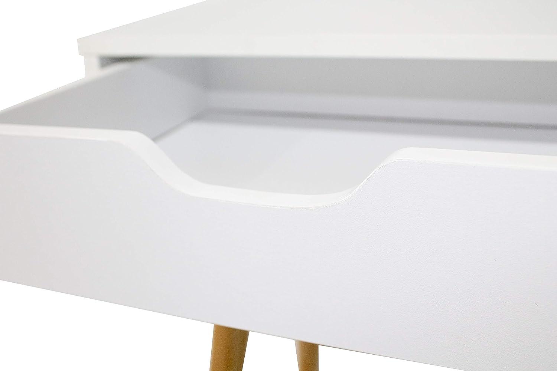 Mesita noche blanca alta 2 cajones Fiano dormitorio moderna nordico 60x40x30 cm: Amazon.es: Juguetes y juegos