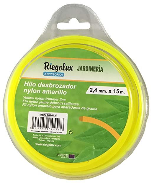 Riegolux 107662 Hilo Desbrozadora Nylon Cuadrada, Amarillo, 2.4 mm x 15 m