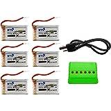BTG 6 Batterie potenziate 20C 3.7V 680mAh batteria con 1 Caricabatterie con 6 porte USB Charger (1PC) per Syma X5 x5C X5a x5C-1 X5SW X5SC Quadricotteri radiocomandati