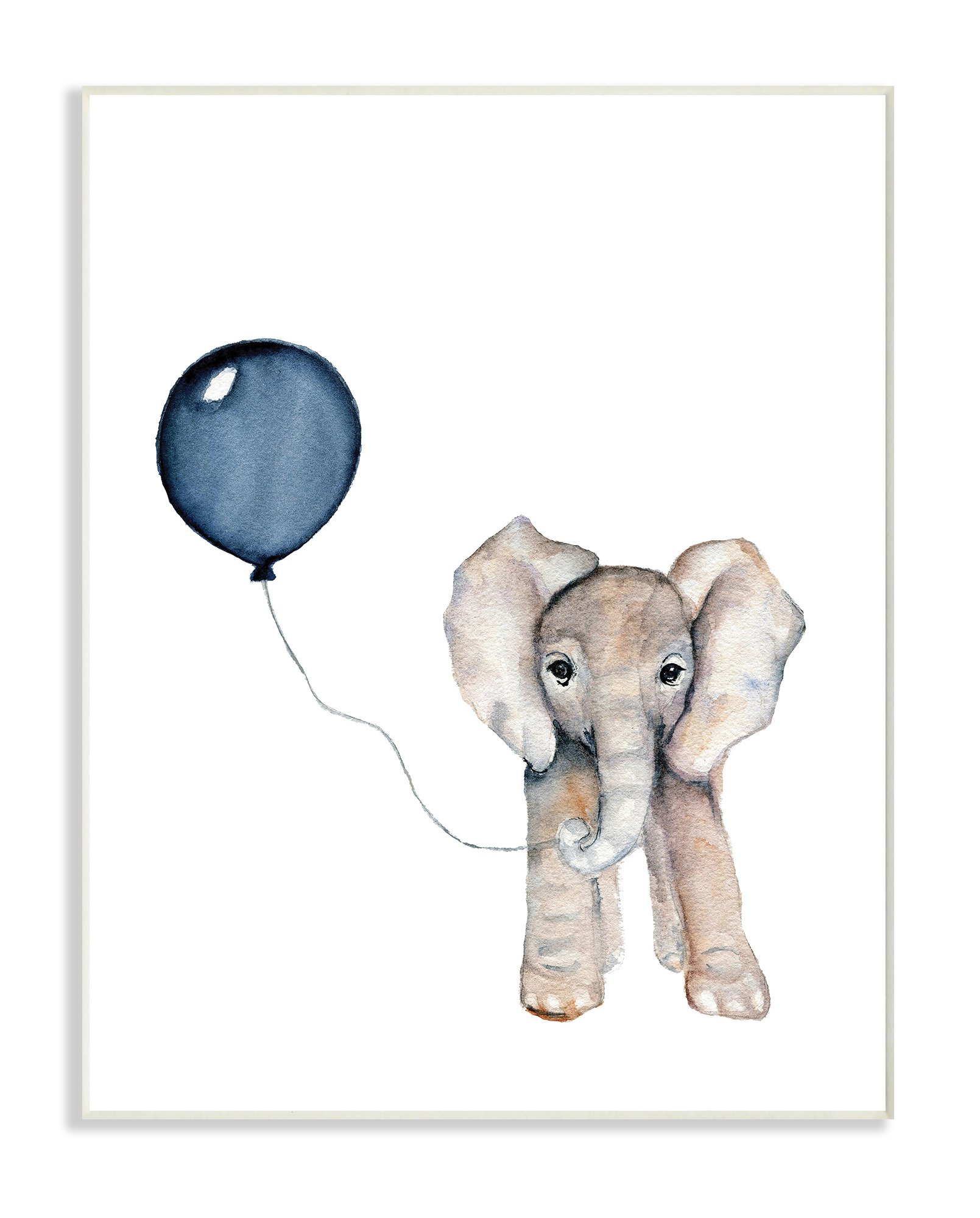 The Kids Room by Stupell Baby Elephant with Blue Balloon Wall Plaque Art, 10 x 15 by The Kids Room by Stupell (Image #1)