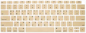 HRH Korean Language Silicone Keyboard Cover Skin for MacBook Newest Air 13 Inch 2018 Release A1932 with Retina Display and Touch ID USA Layout-Gold