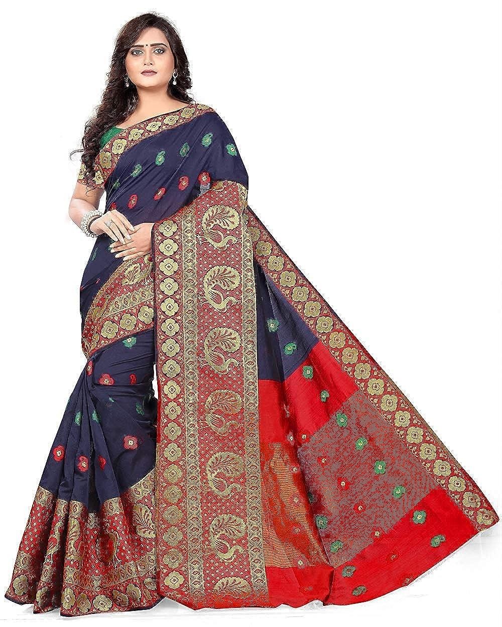 68bc4d6aa3 Sandar Fab Woven Banarasi Multicolor Cotton, Banarasi Silk, Tussar Silk  Saree (Multicolor) (blue): Amazon.in: Clothing & Accessories