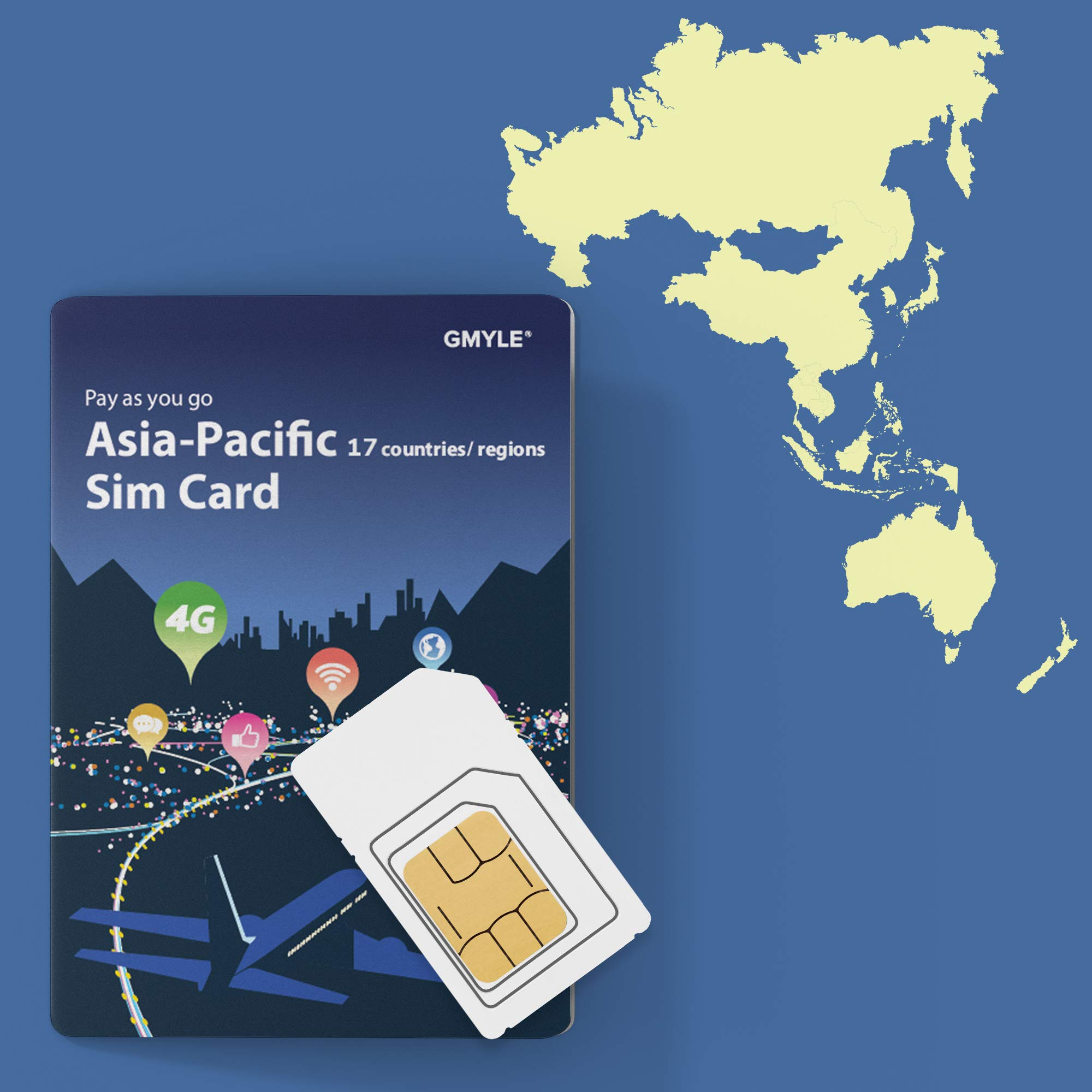 GMYLE Japan, China, Thailand, etc, Prepaid SIM Card, 5GB 14 Days Asia Pacific 17 Countries 4G LTE 3G Travel Data, Top up Anytime and Anywhere by GMYLE