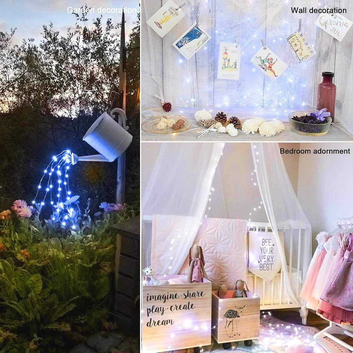 LED Rope String Lights, Patio Lights Umbrella Lights Hanging Outdoor Indoor Wall Decoration DIY Decoration for Bedroom Garden Holiday, Waterproof Lights Dimmable with Remote Control (cold white light) by NCLed (Image #3)