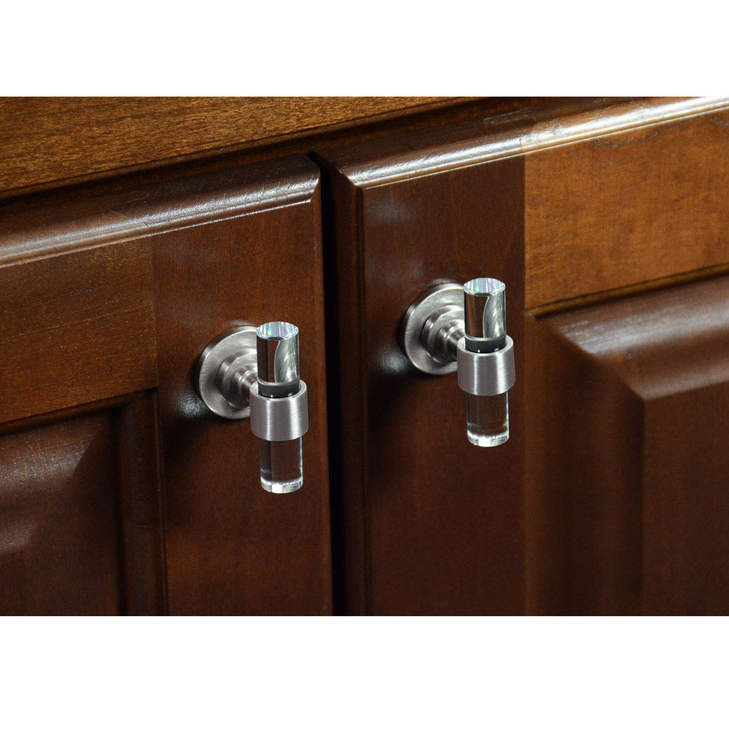CKP Brand #750 Charlotte Collection T-Knob, Brushed Nickel/Clear - 10 Pack by CKP (Image #5)