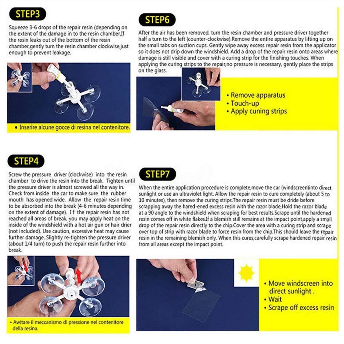Noradtjcca DIY Windschutzscheibe Reparatur Kits Autofensterreparaturwerkzeuge Glas Kratzer Wiederherstellen Windschutzscheibe Risse Polieren Repair Tool Set