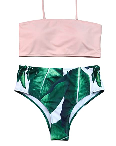 894a5323372a5 MOOSKINI Women Sexy Bandeau High Cut Bikini Set Beach wear Bathing Suit  Swimsuit