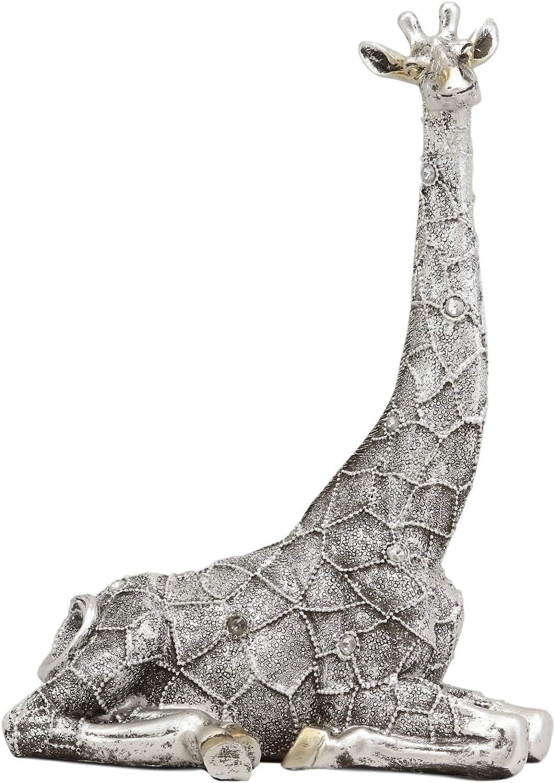 Ebros Silver Filigree Prints Design Madagascar Sitting Giraffe Statue 9.5