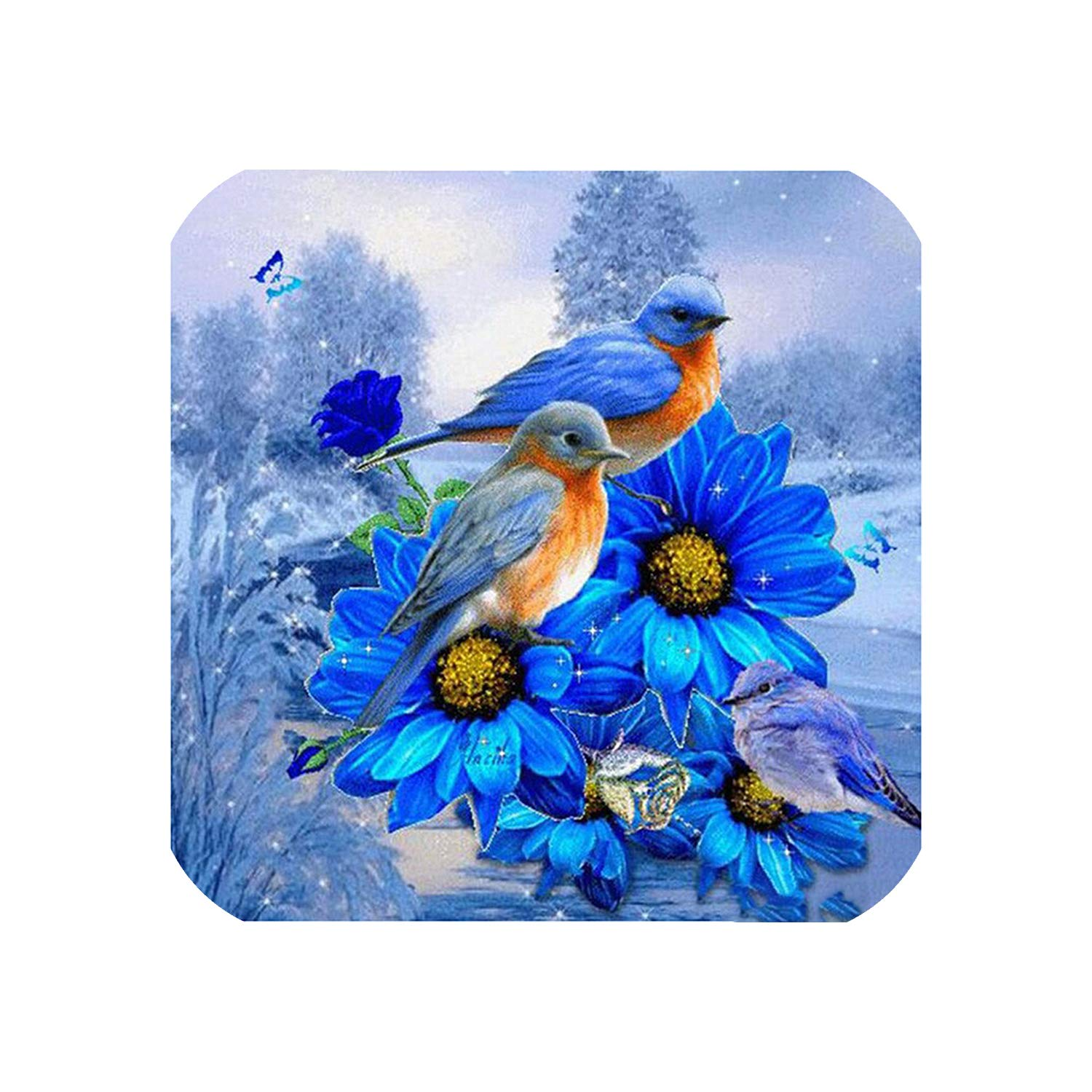 Wild-lOVE HOMFUN Complete/Square/Round Drill 5D DIY Diamond Painting Blue Flower and Bird 3D Embroidery Cross Stitch 5D Home Decoration A01527,Square Drill 120x120