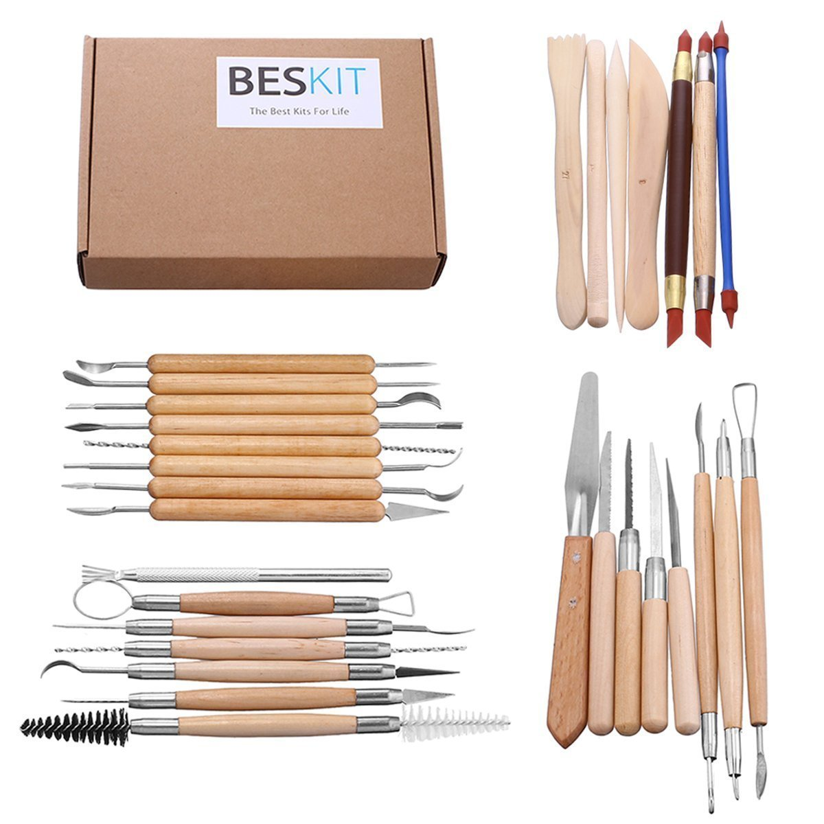 BESKIT 30PCS Clay Sculpting Tools Pottery Carving Tool Set Halloween Sculpting Kit - Includes Clay Color Shapers, Modeling Tools & Wooden Sculpture Knife & Pumpkin Carving Tools (Type 1)