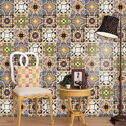 European Style Design - Anti-Mold Tile Stickers European Style Retro 3D Design Self Adhesive Wall Tile Waterproof Wall Stickers Bathroom Art Decor 16Pcs Set (A)