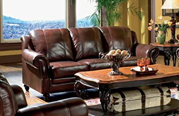 Bon Princeton   Tri Tone Burgundy Leather Sofa By Coaster