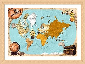 Amazon alonline art pirates old vintage world map beech framed alonline art pirates old vintage world map beech framed poster print on 100 cotton gumiabroncs Gallery