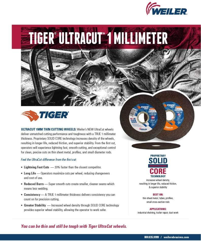 """Weiler Tiger Zirc Thin Cutting Wheels 4-1//2/"""" x .045/"""" 25//pk  58020"""