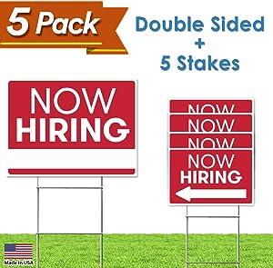 Now Hiring Business Event Sign - Employer Store Job Fair Sign - 5 Sign Bulk Pack - (1) 18