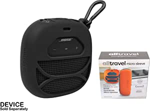 Customized Silicon Skin for Bose SoundLink Micro, Portable Outdoor Speaker by alltravel, Full Protection Cover from Shock, Shake and Drop, Free Carabiner for Easy Carrying (Back)