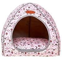 Nido De Mascota De Lujo Extraíble Suave Y Acogedora Puppy Kitten Bed Cálida Casa Plegable De Perro Y Gato Invierno Cama Pink XL