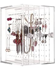 Sooyee Dustproof Jewelry Screen Hanger Organizer 216 Holes Earrings Holder 3 Drawers Necklace Chains Acrylic Display Stands Decor Gifts Girls,Clear 5.27X5.43X7.2 Inch