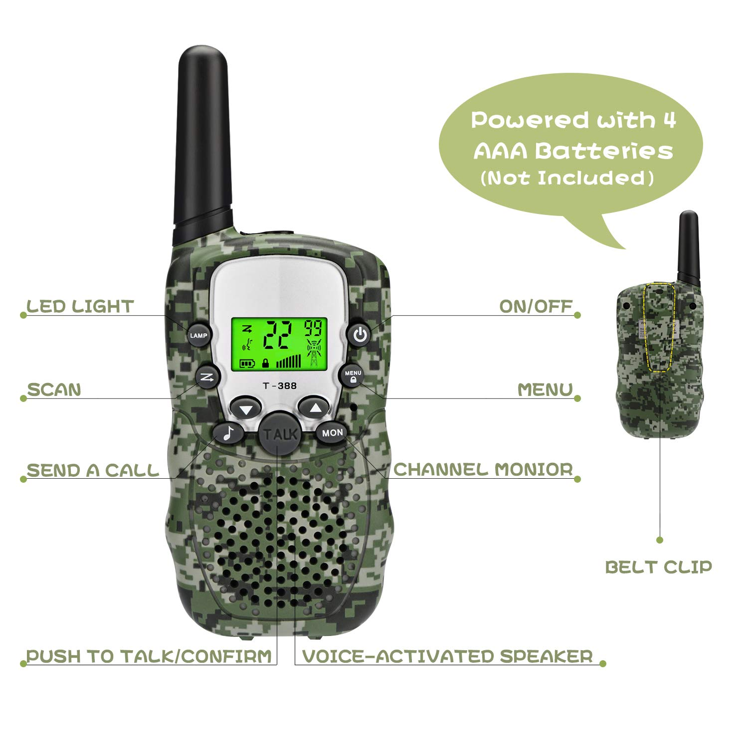 Zhenhao Walkie Talkies for Kids 3 Packs - 22 Channels Two Way Radio 3 Miles Long Range Outdoor Toys with 3 Earpieces and 3 Lanyards for Boys Girls by Zhenhao (Image #6)