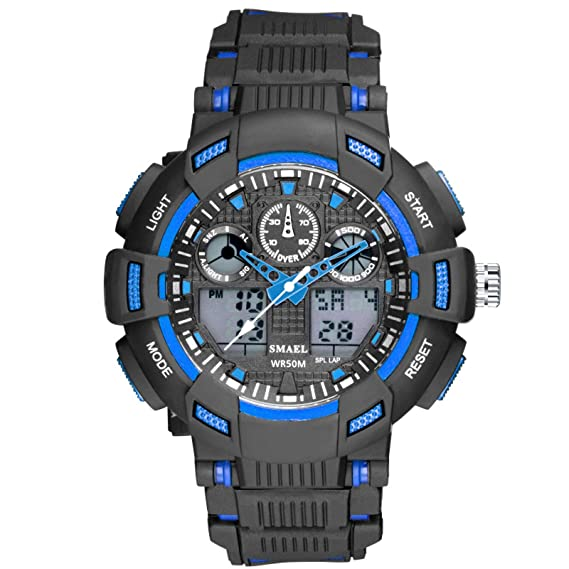 Daesar Reloj de Doble Pantalla Relojes LED Reloj Hombre Luminoso Reloj Hombre Moda Relojes Electronicos Reloj Adolescente Reloj Hombre Negro Azul: ...