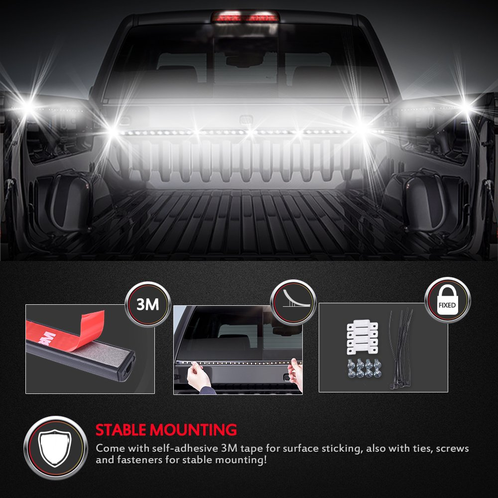 Mictuning 2pcs 60 truck bed light led light strip lamp waterproof mictuning 2pcs 60 truck bed light led light strip lamp waterproof lighting kit on off switch fuse 2 way splitter cable tail light assemblies amazon mozeypictures Choice Image