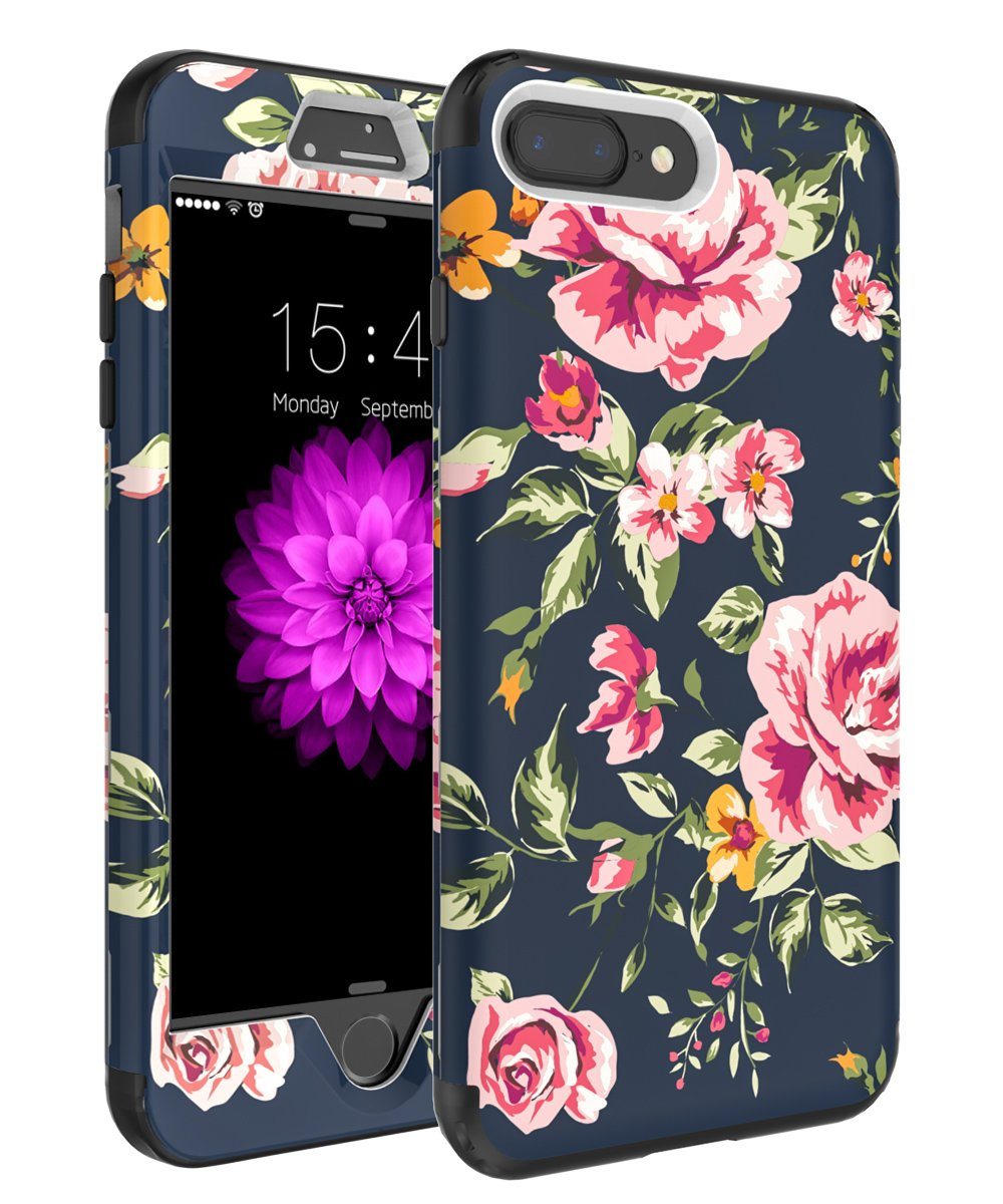 iPhone 7 Plus Case,iPhone 8 Plus Case,SKYLMW Three Layer Heavy Duty High Impact Resistant Hybrid Protective Cover Case For iPhone 7 Plus/8 Plus (Only For 5.5'') Pink Flower/Black