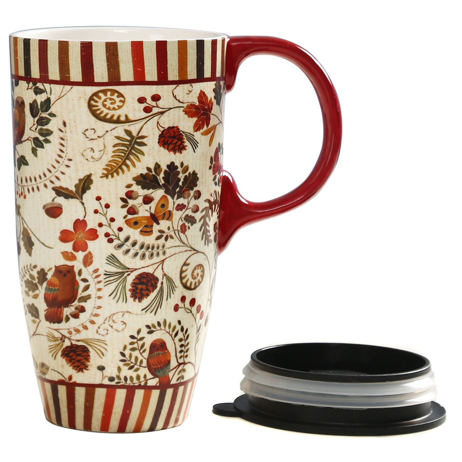 CEDAR HOME Travel Coffee Ceramic Mug Porcelain Latte Tea Cup With Lid in Gift Box 17oz. Live Your Bliss CQ3LTM4256L