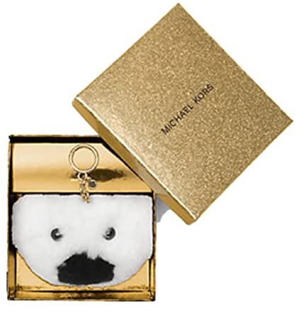 633441bfd4d Image Unavailable. Image not available for. Color  Michael Kors Teddy Bear  White Large Pom Fur Key Chain Fob Bag Charm