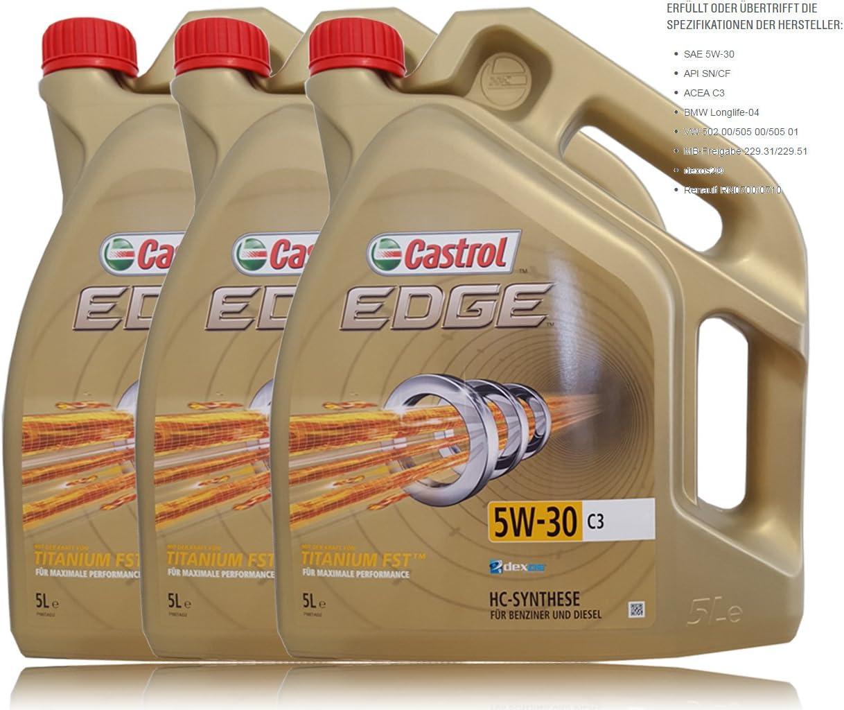 3x 5 L 15 Liter Castrol Edge Fluid Titanium 5w 30 C3 Motoröl Auto
