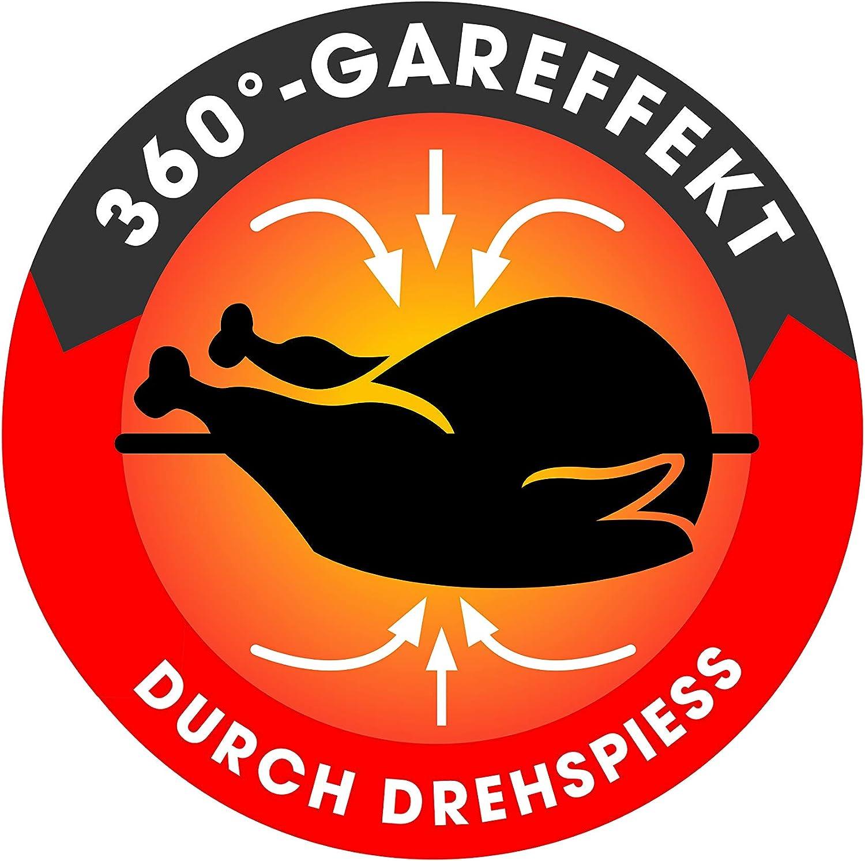 GOURMETmaxx pl/ástico de alta calidad y acero inoxidable rojo 1800 W para fre/ír sin grasa mini horno con recirculaci/ón 9 litros Freidora de aire caliente digital XXL