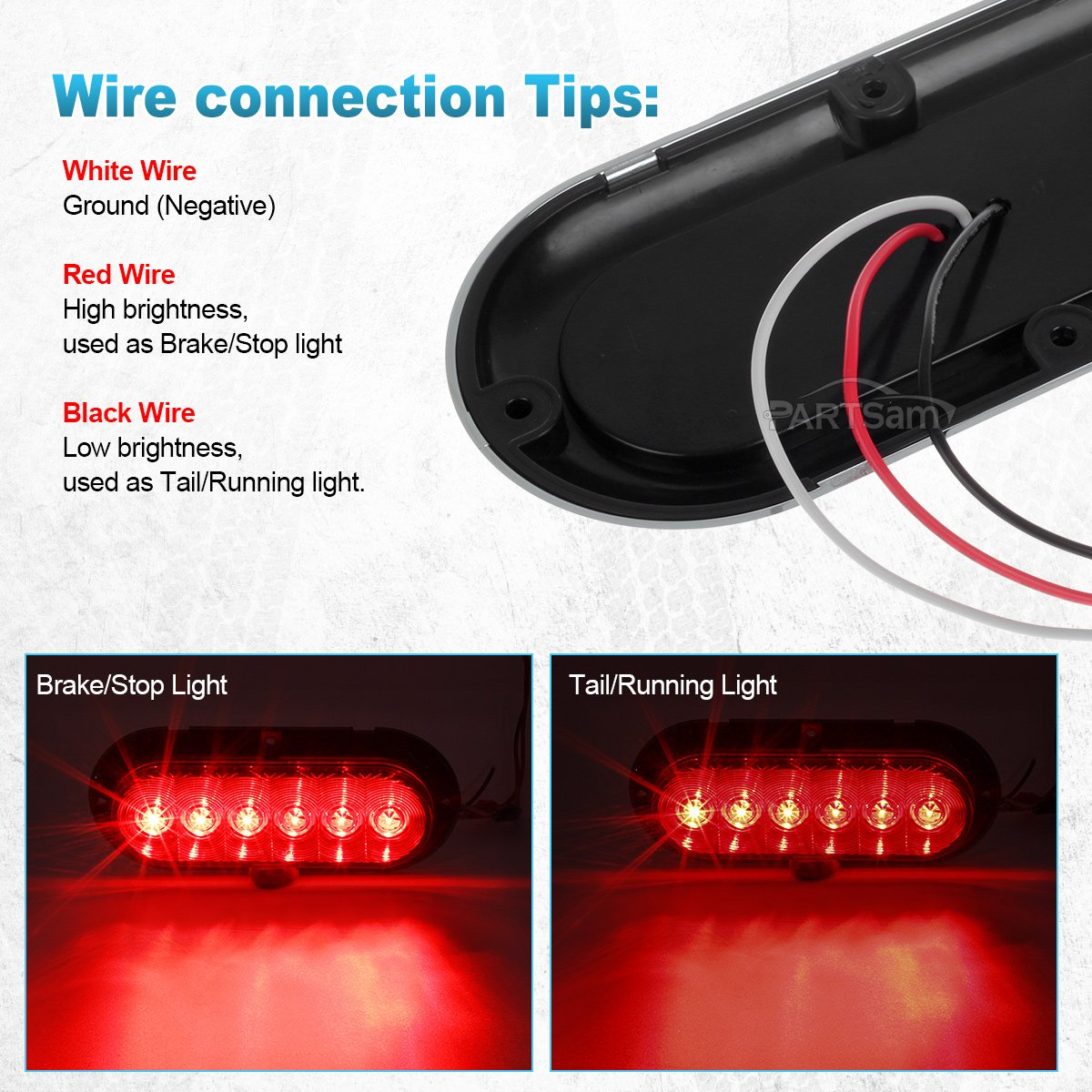 Partsam 2x Red 6 Oval Sealed Led Stop Turn Tail Wiring A Light Fixture With Black And White Wires Trailer Truck Lights W Chrome Bezels Surface Mount Automotive