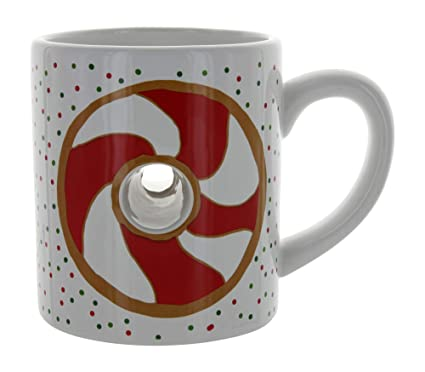 abbdd22a665 Image Unavailable. Image not available for. Color: Donut Daze Candy Cane  Dount Holiday Ceramic Coffee Mug with Donut Hole