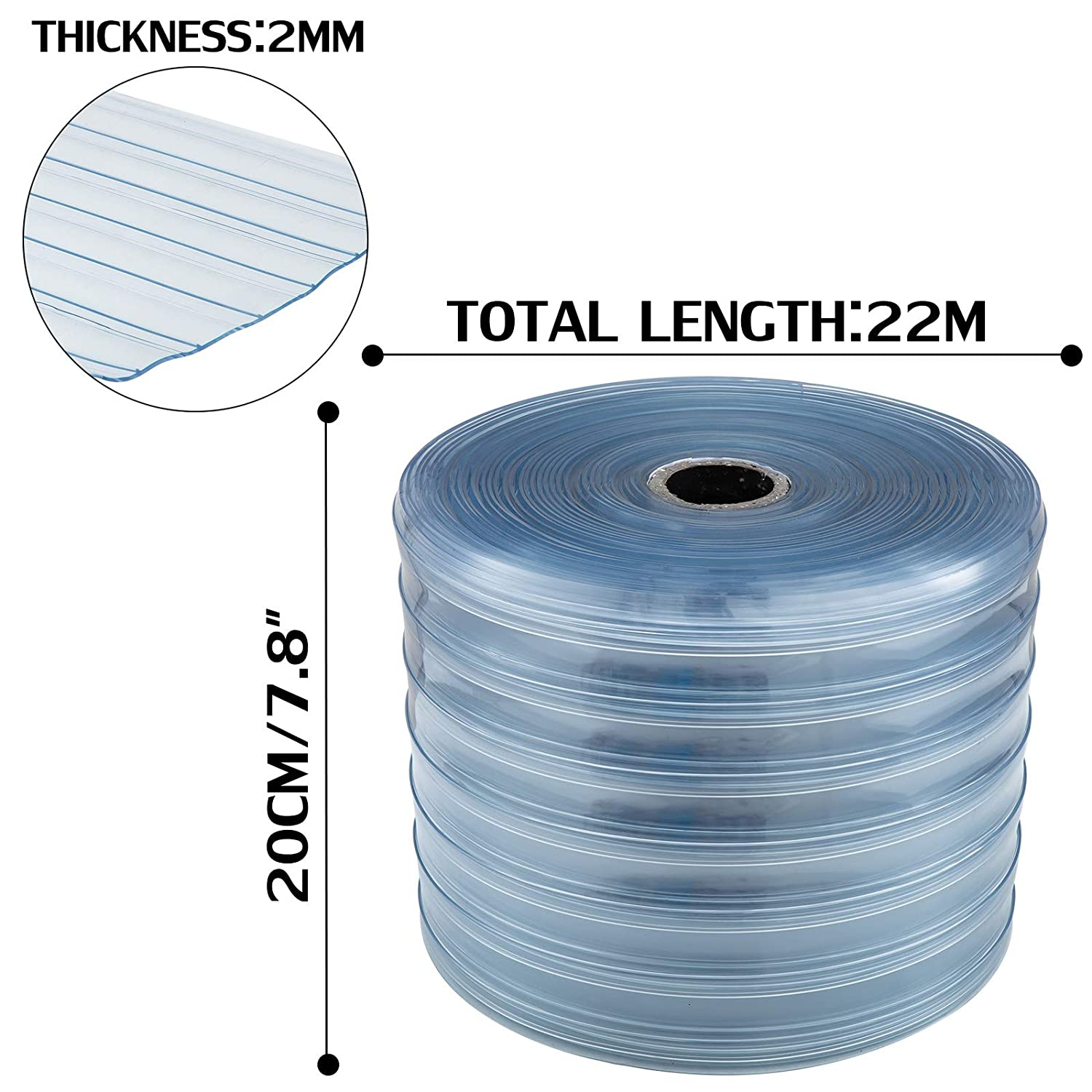 """PLASTIC DOOR STRIP     8/"""" wide x 100 ft x 80mil  CUT TO SIZE! Made in USA!"""