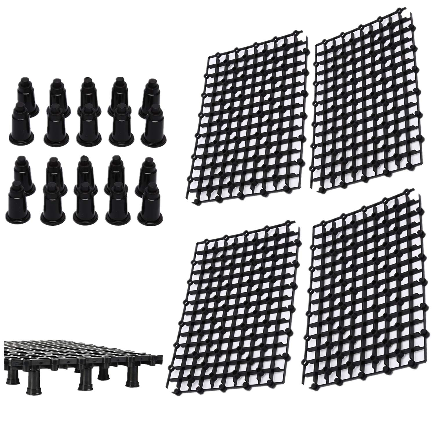 Ioffersuper 4 Pcs Aquarium Isolation Board Fish Tank Divider with 20 Pcs Supporty Feet,Black by Ioffersuper