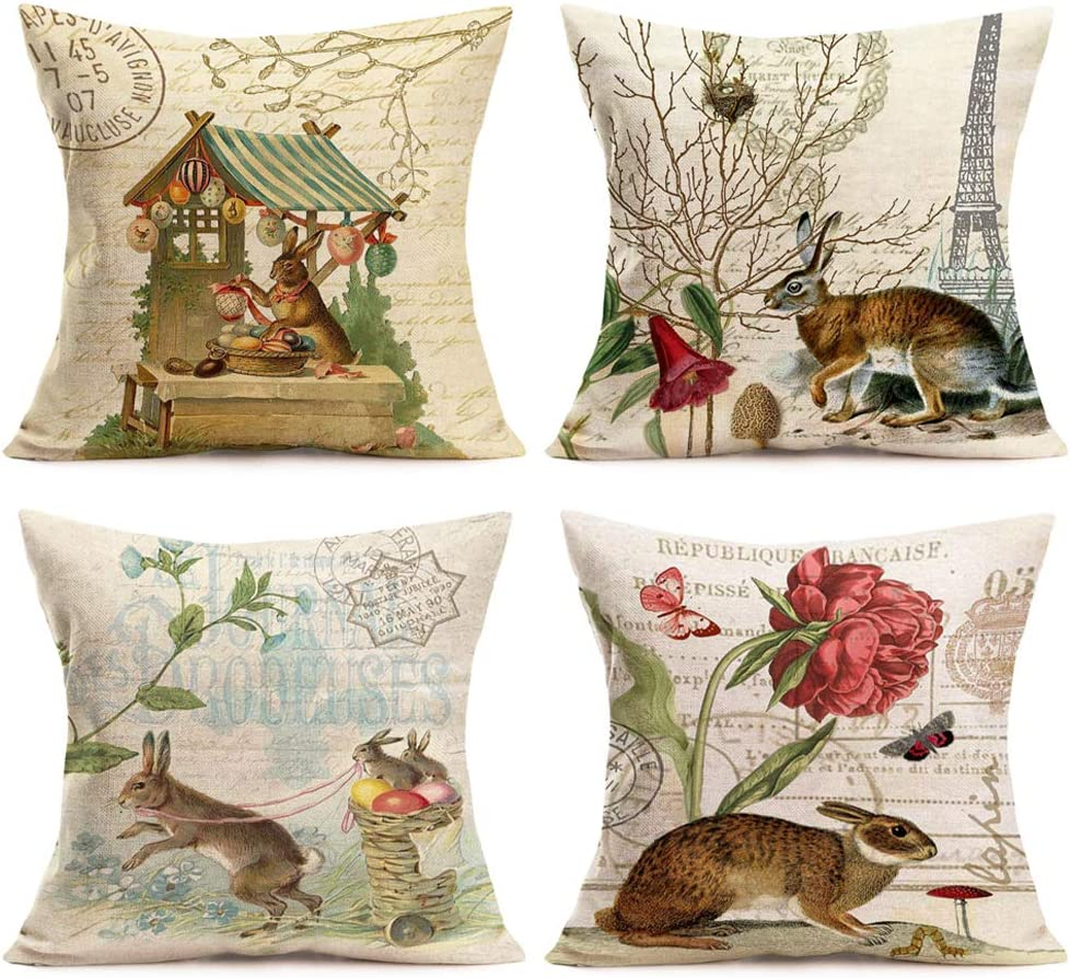 Easternproject 4 Pack Easter Rabbit Pillow Cases Vintage Bunny Plant with Lettering Decorative Spring Animal Throw Pillow Cushion Cover Protector Cotton Linen Pillowslip 18x18 Inch