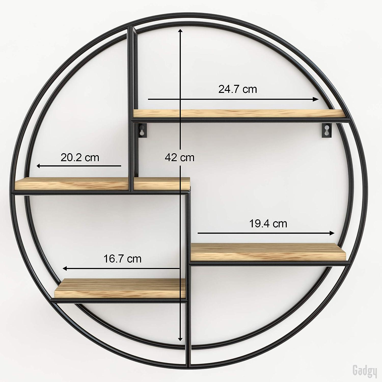 Gadgy /® Mensola da Muro Design l con4 Ripiani l Mensola Design l 100/% Legno Naturale e Metallo Saldato l Stile Nordico l /Ø 42 x 10 cm
