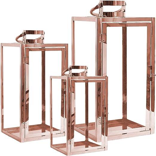 Mojawo® XXL Juego de 3 faroles de jardín de acero inoxidable, portavelas de cristal, 30/40/53 cm, oro rosa: Amazon.es: Hogar