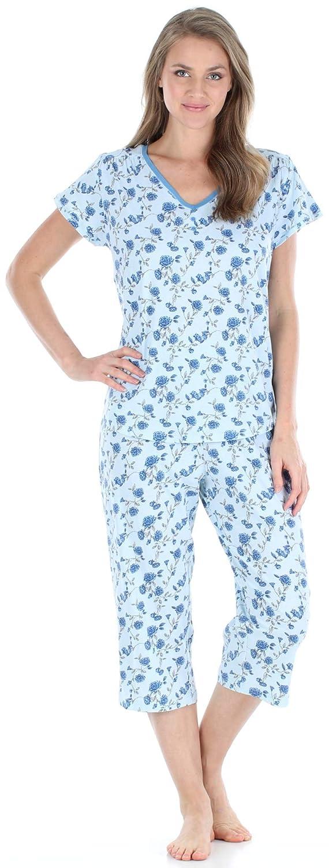 Sleepyheads Ropa de Dormir para Mujer Camisa con Cuello en V de Manga Corta y Conjunto de Pijama Capri