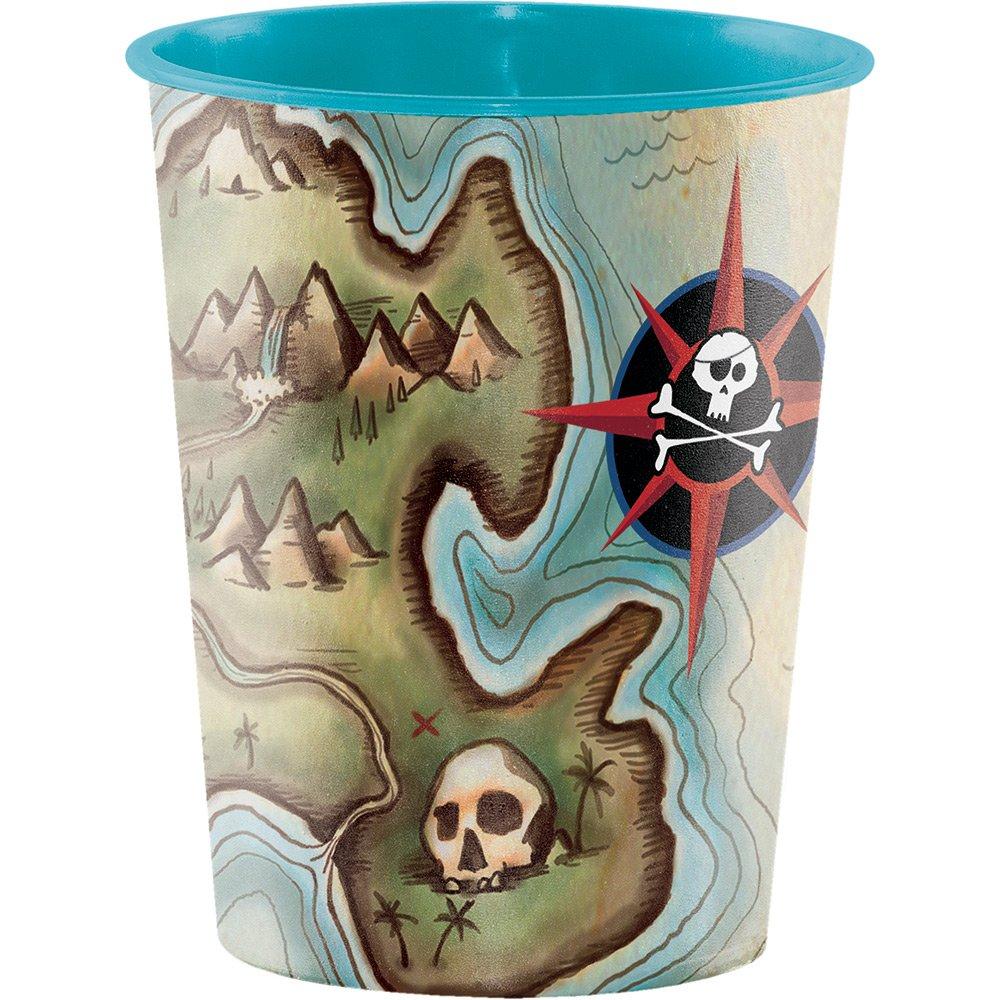 Creative Converting Plastic Keepsake Cups, Pirate's Map (12-Count)