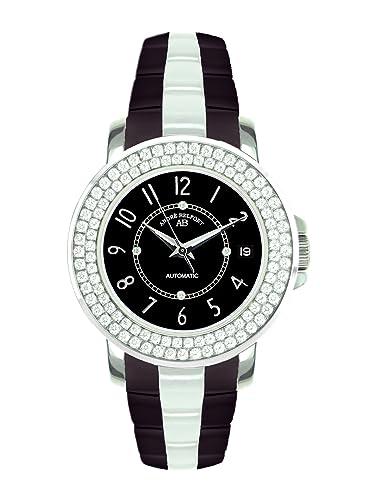 André Belfort 410075 - Reloj analógico de mujer automático con correa de cerámica negra - sumergible a 50 metros: Amazon.es: Relojes