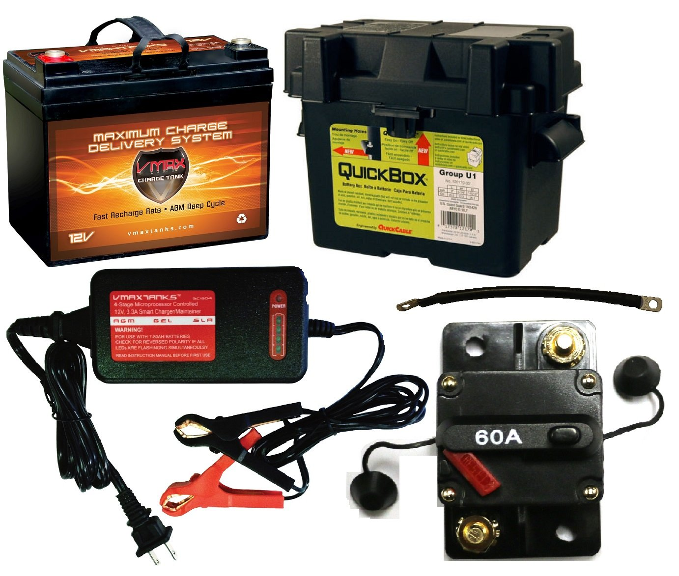 Boat Battery Kit: VMAX 12V 35ah AGM Battery + Quickbox Marine Battery Box + Waterproof Circuit Breaker + VMAX 12V 4-Stage Smart Charger + (2) 9'' 100% Copper Battery Cables. AGM 35ah Battery Kit Ideal for Boats 18-35 pound thrust motors, Minnkota, Cobra, S by VMAXTANKS