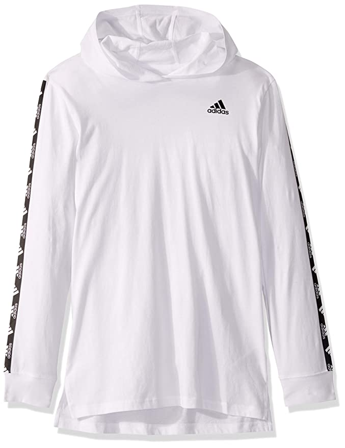 adidas Boys' Big Long Hooded T-Shirt, White Bos Sleeve, L(14/16)