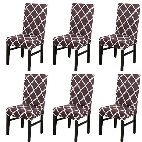 Cubierta para silla LiveGo, paquete de 6 cubiertas para silla de comedor elástica Silla con respaldo alto Funda protectora Funda protectora para ...