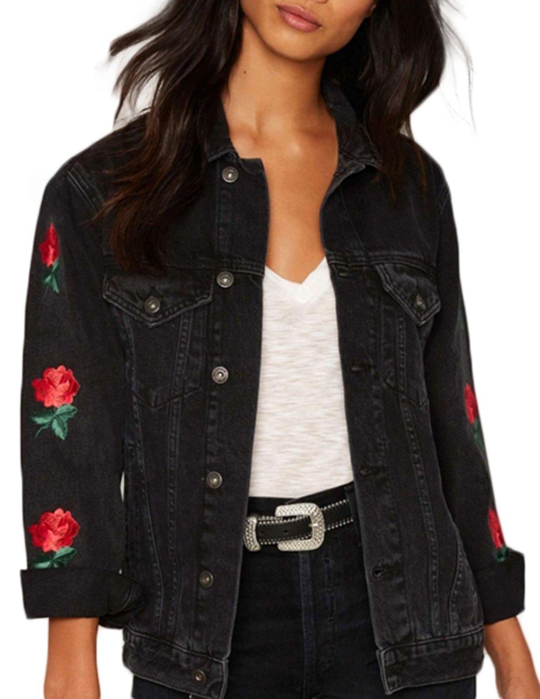 HaoDuoYi Womens Casual Flower Embroidery Long Sleeve Denim Jacket(XL,Dark Grey)