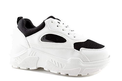 d24e37218e Scarpe Sneakers Suola Alta Donna Triple in Pelle PU Nere Bianche Multicolor  Estive Ultimi Arrivi Casual Moda