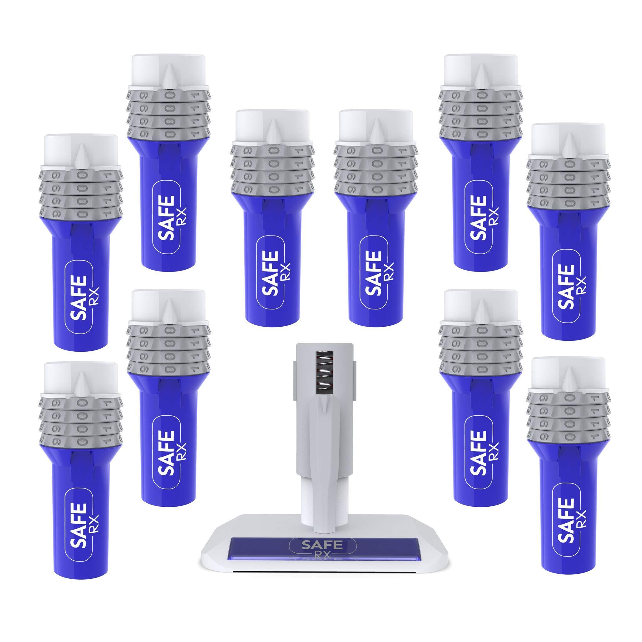 Safe Rx Locking Pill Bottle - Combination Lock - Child Resistant, Tamper Evident, Senior Friendly (Small Bottle, 10-Pack Encoder Kit)