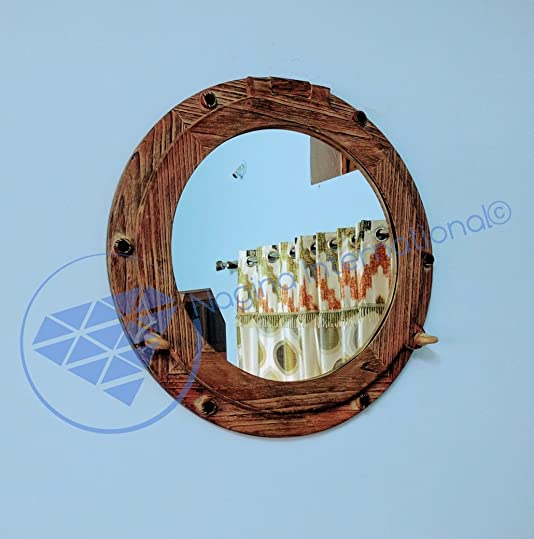 Nagina International Premium Hand Crafted Nautical Wooden Ship s Porthole Mirror Impressive Wall Decor Mirror Vintage Gifts Birthday Gifts